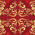 Whimsical Organic Pattern In Yellow And Red I by Irina Sztukowski