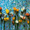 Whimsical Poppies On The Blue Wall by Georgiana Romanovna