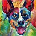 Whimsical Rat Terrier Dog Painting by Svetlana Novikova