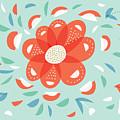 Whimsical Red Flower by Boriana Giormova