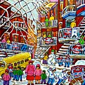 Whimsical Winter Wonderland Snowy School Bus Montreal Story Book Scene Hockey Art Carole Spandau     by Carole Spandau