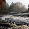 Whiskey River - Foggy Fall Waterscape by Georgia Mizuleva