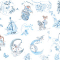 Whispering Daydreams Toile de Jouy in Blue and Brown