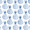 White And Blue Pineapple Party by Linda Woods
