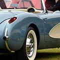 White And Light Blue Corvette by Dean Ferreira