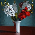 White And Red Gladioli by Bela Csaszar