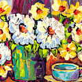 White And Yellow Flowers In Blue Vase With Cup Colorful Original Painting By Carole Spandau by Carole Spandau
