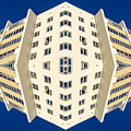 White Apartment Block Abstract And Blue Sky by John Williams