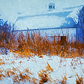 White Barn In Snowstorm by Anna Louise