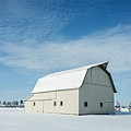 White Barn With Snow by Michael Shake