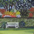 White Bench In Colorful Garden by Samara Doumnande