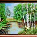 White Birch On The Lake by Cvetko Ivanov