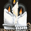 White Candle Trio by Elaine Hodges