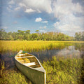White Canoe Textured Painting by Debra and Dave Vanderlaan