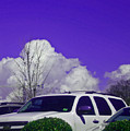 White Car And Clouds by Beebe  Barksdale-Bruner