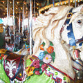 White Carousel Horse Dressed Up by Garland Johnson