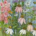 White Coneflowers In Garden by Laurie Rohner