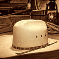 White Cowboy Hat In A Barn by American West Legend By Olivier Le Queinec