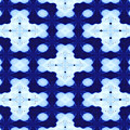 White Crosses And Blue Diamond Abstract by Debra Lynch
