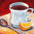 White Cup With Lemon Wedge And Spoon Grace Venditti Montreal Art by Grace Venditti