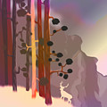 White Deer Climbing Mountains - Abstract And Colorful Forest by Jean-Pierre Prieur