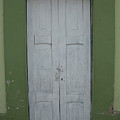 White Door In A Green Wall by Robert Hamm