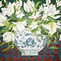 White Double Tulips And Alstroemerias by Jennifer Abbot