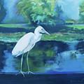 White Egret Bird On Blue by Robin Maria Pedrero