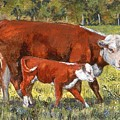 White Face Cow And Calf by Peggy Conyers