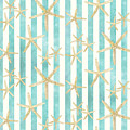 White Finger Starfish Watercolor Stripe Pattern by Audrey Jeanne Roberts