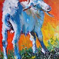 White Goat Painting - Scratching My Back by Mike Jory