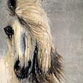 White Horse On Silver Leaf by Scott Lindner