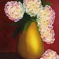White Hydrangeas In A Golden Vase by Maria Williams