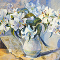 White Lilies In White Jug by Sue Wales