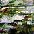 White Lilies On Black Water Wetland by Ginette Callaway