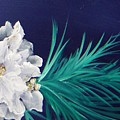 White Poinsettia On Blue by Jacqueline Whitcomb
