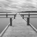 White Rock Lake Pier Black And White by Robert Bellomy