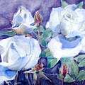 White Roses On Blue Field by Greta Corens