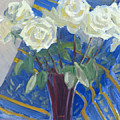 White Roses With Red And Blue by Candace Lovely