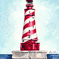White Shoal Lighthouse Michigan Nautical Light House Red And White Candycane Stripes by Laura Row