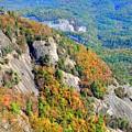 White Side Mountain Fool's Rock In Autumn Vertical by Lisa Wooten