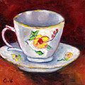 White Tea Cup With Yellow Flowers Grace Venditti Montreal Art by Grace Venditti
