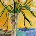 White Tulips In Cut Glass by John Williams