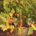 White Wine And Vineyard Autumn Season by Goce Risteski