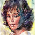 Whitney Houston Portrait by Suzann's Art