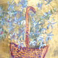 Wicker Basket Of Garden Flowers by Michela Akers