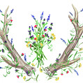 Wild Flowers And Antlers Watercolor by Irina Sztukowski