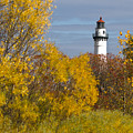 Wind Point Lighthouse In Fall by Ricky L Jones