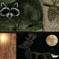 Wild Racoon And Deer Patchwork by Mindy Sommers