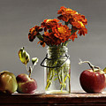 Wild Red Apples With Marigolds by Lawrence Preston